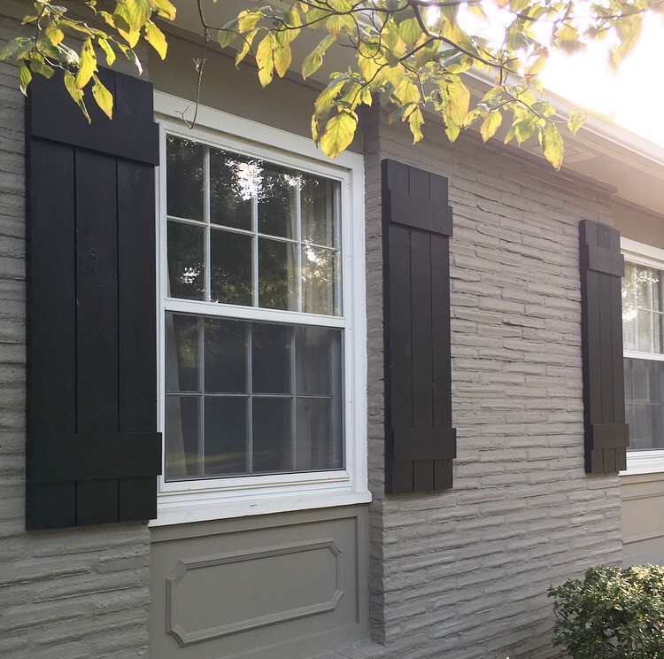 Diy outdoor shutters mindfully gray How to make exterior shutters