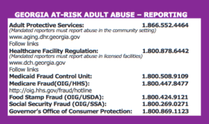 Georgia Elder Abuse Reporting Card