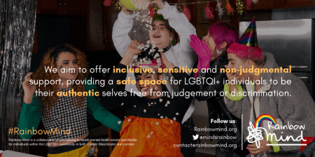 Rainbow Mind marketing image discussing values of inclusivity for LGBTQI+ individuals