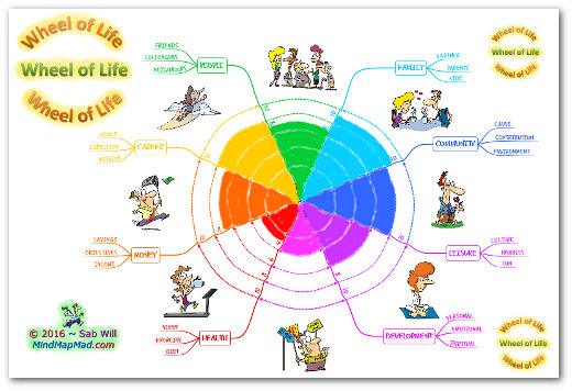 """wheel of life coaching tool"" pie chart version"