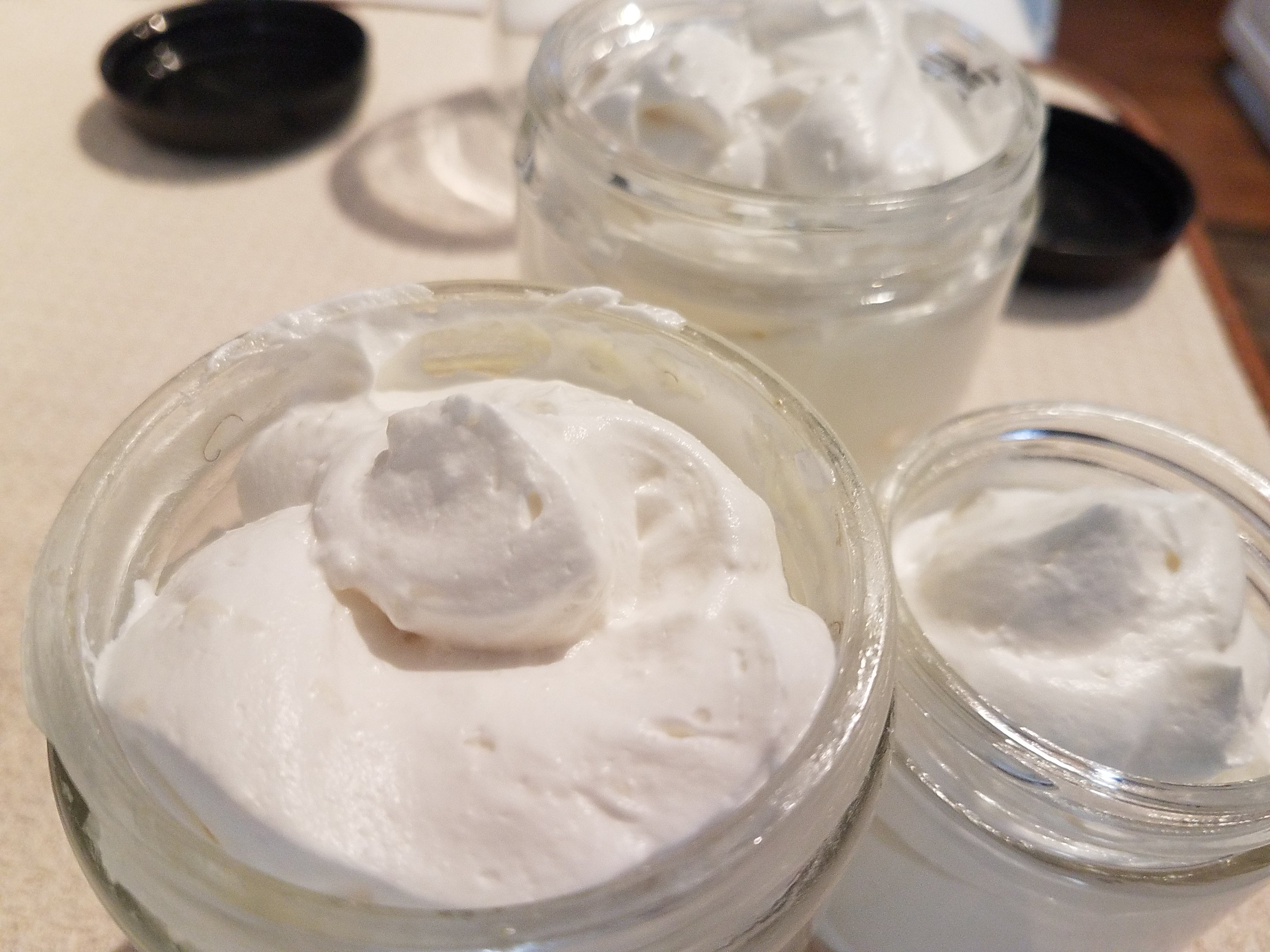 A fresh batch of mango butter/cupuacu butter hair cream, whipped and ready to go (apparently, this is the only product my hair wants or needs.)