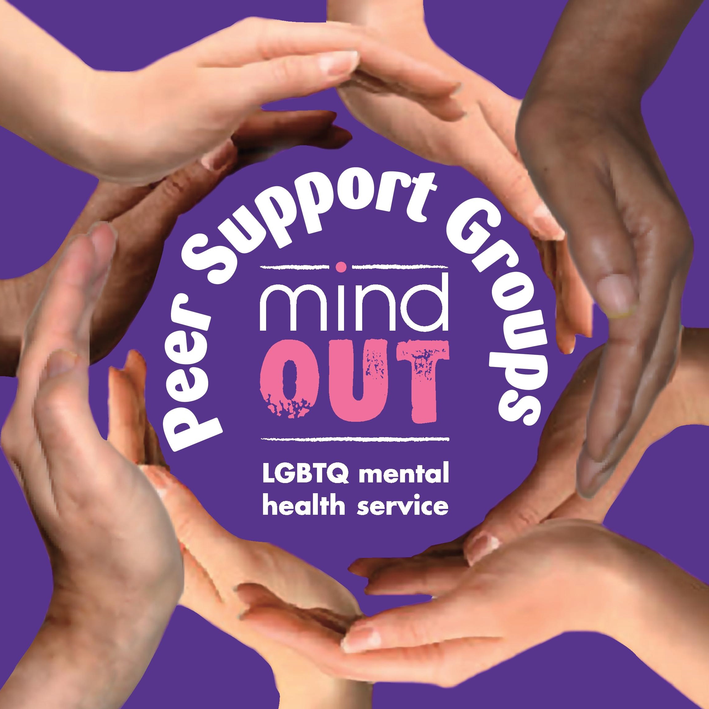 a ring of hands around the mindout logo