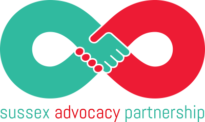 sussex advocacy partnership logo one red hand one green hand shaking in the shape of an infinity symbol