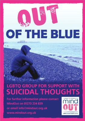 out of the blue poster showing person with hoodie on sitting on pebbles looking out to see