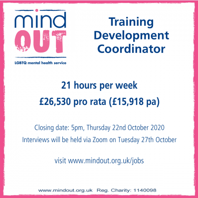 Image has a pink border, and features the MindOut logo. It gives details of the job vacancy, and includes details of the post including hours and salary. Bottom of the image includes the MindOut website and charity number.