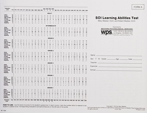 SOI-LA FORM A STANDARD TEST BOOKLET (PACKAGE OF 25)