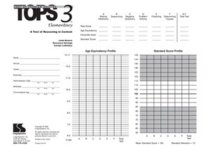 TOPS-3 ELEMENTARY / TEST FORMS (20)