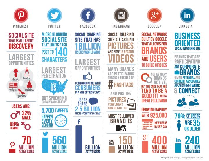 Social Media Plattformen Vergleich 2014 Infografik