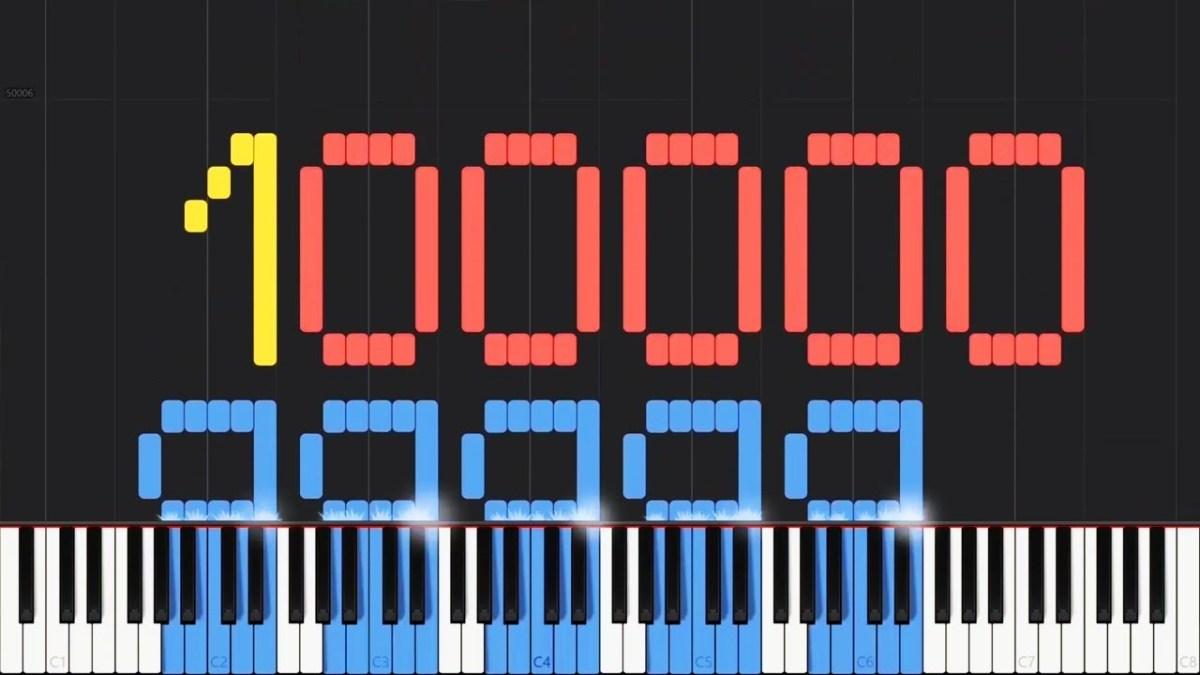 Die ersten 100000 natürlichen Zahlen musikalisch zu zählen dauert knappe 21 Stunden
