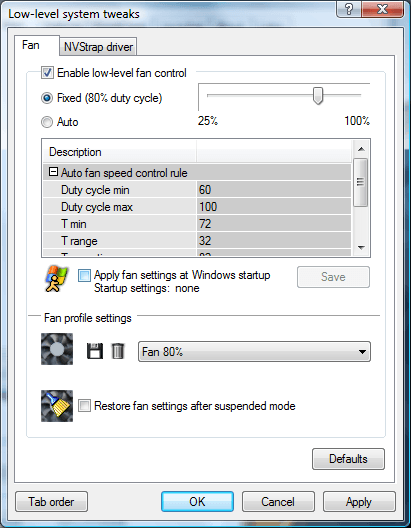 To enable a fan profile to be applied during Windows Startup, click the checkbox