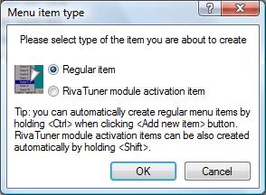Click the Regular item radio button