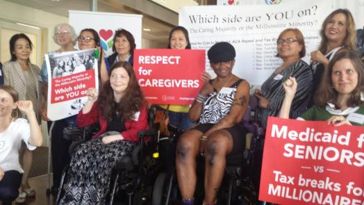 Activists from Caring Across Generations, which advocates for quality jobs for care workers