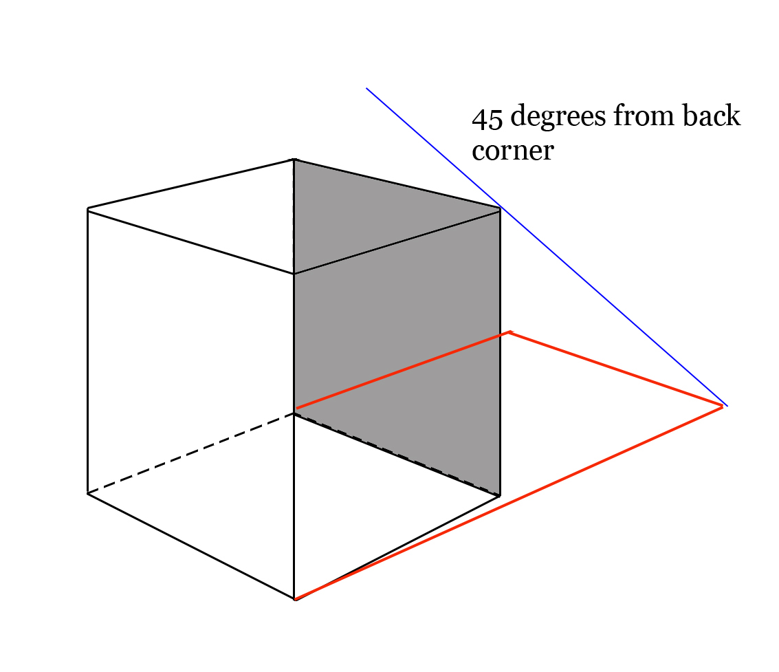 hight resolution of cube cast shadow for upper left lighting