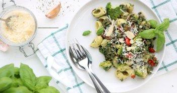 pasta met gehakt en spinazie-roomsaus