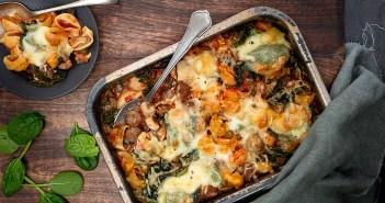 oven pasta met gehakt en spinazie