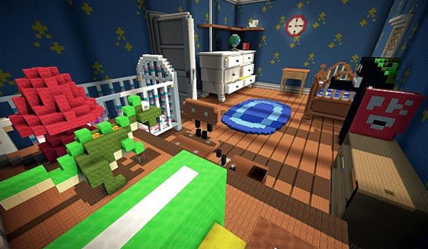 Minecraft recreation of Andy's room from Toy Story 2