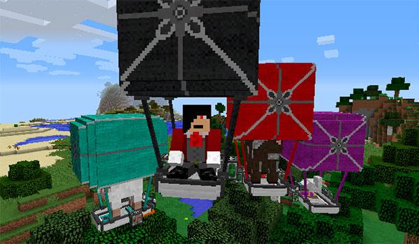 Imagen de un jugador de Minecraft, volando con su globo aerostático, mientras que podemos ver globos aerostáticos de varios colores, gracias al mod ViesCraft 1.12.