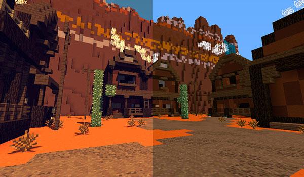 Imagen donde veras un paisaje del bioma de Mesa utilizando las texturas del paquete de texturas PixaGraph 1.15, 1.14 y 1.12. Comparativa entre texturas