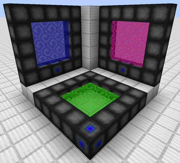 Imagen de ejemplo donde podemos ver tres tipos de portales distintos, creados con el mod Wormhole Portals 1.16.1, 1.16.2, 1.16.3 y 1.16.4.