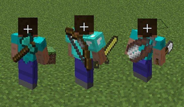 Back Tools Mod for Minecraft 1.7.2 and 1.7.10