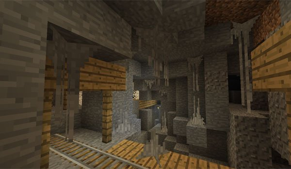picture of the inside of a cave with items of wildcaves 3 mod.