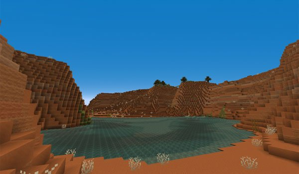 "image the ""Mesa"" biome of Minecraft, decorated with textures pixel reality 1.7.2."