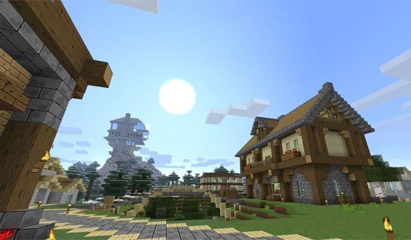 image of a small town using sixtygig textures 1.7.2.