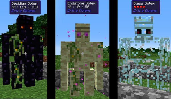 image where we can see three types of new golems, developed with extra golems mod 1.7.10.