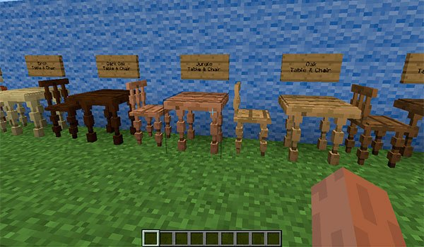 image we can see chairs and tables of various types of wood, which can be used in Minecraft.
