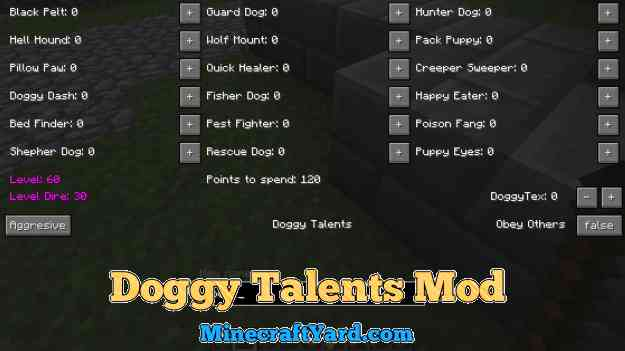 Doggy Talents Mod 1.14.4/1.13.2/1.12.2/1.11.2