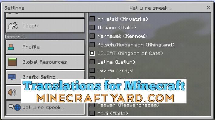 Translations for Minecraft Add-On 1.12.1/1.12.0/1.11.4/1.11.3