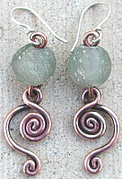 glass and copper earrings