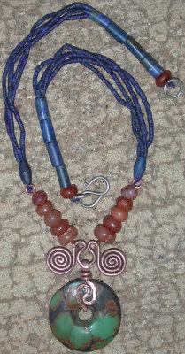 turquoise lapis carnelian necklace