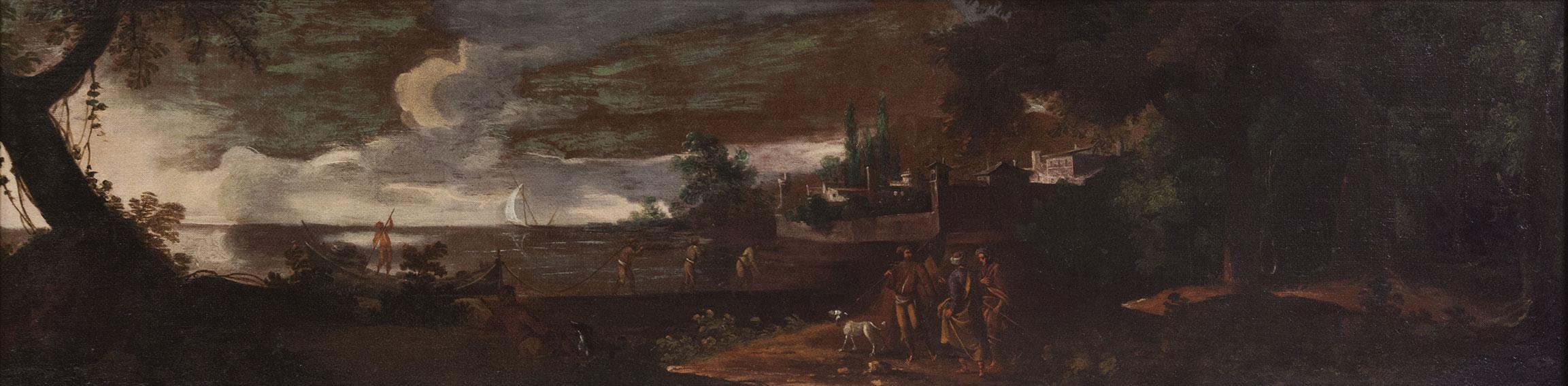Scuola romana Paesaggio costiero con viandanti e pescatori