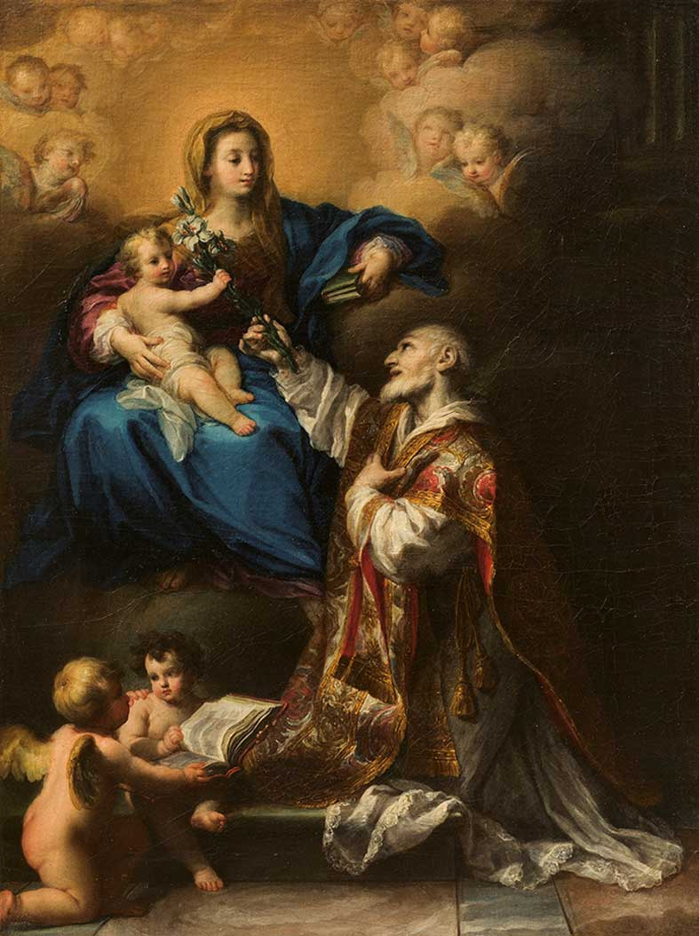 La Madonna in gloria appare a san Filippo Neri  Asta 112