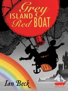 grey island red boat