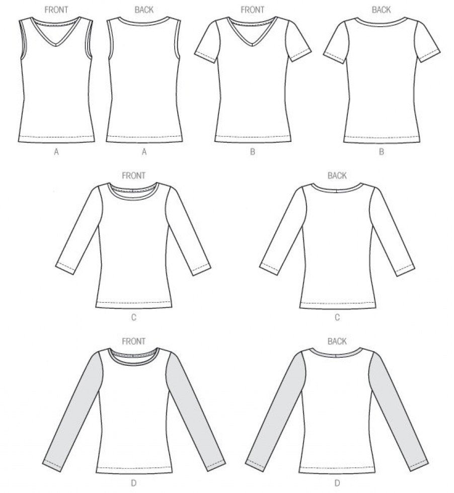 McCalls Ladies Easy Sewing Pattern 6964 Jersey T-Shirt