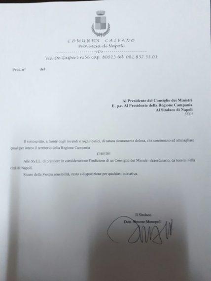 Documento inviato dal sindaco Monopoli