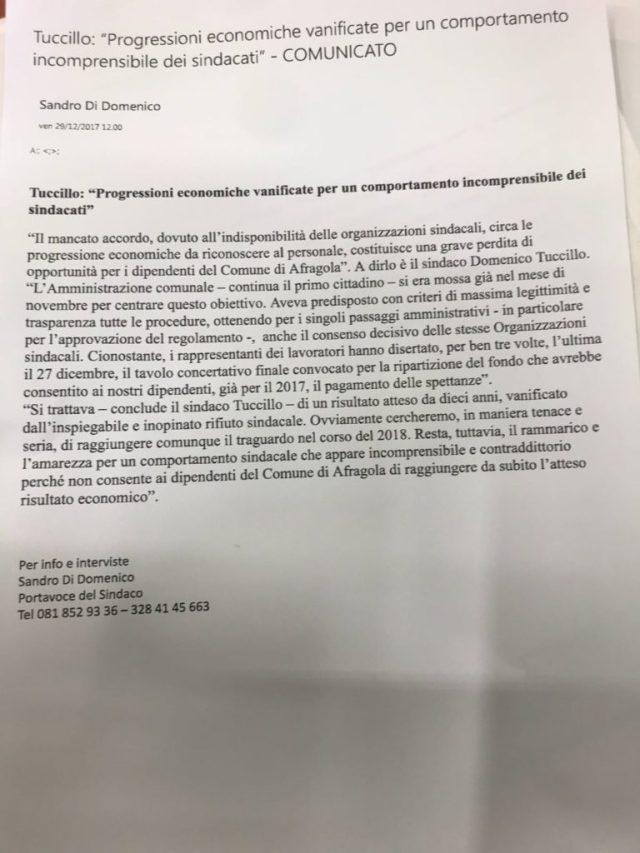 Comunicato del sindaco Tuccillo sulle graduatorie annullate
