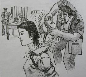 中共酷刑示意图:热水烫