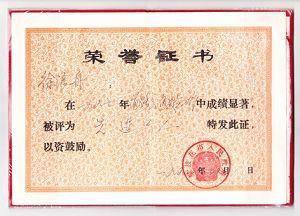 徐浪舟获得的部分荣誉证书