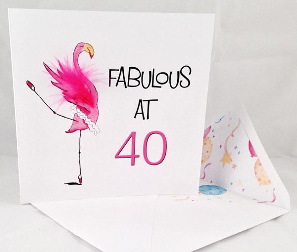 40th Flamingo Birthday Card