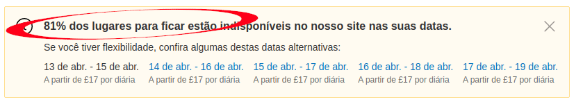Exemplo de Escassez booking de hotel
