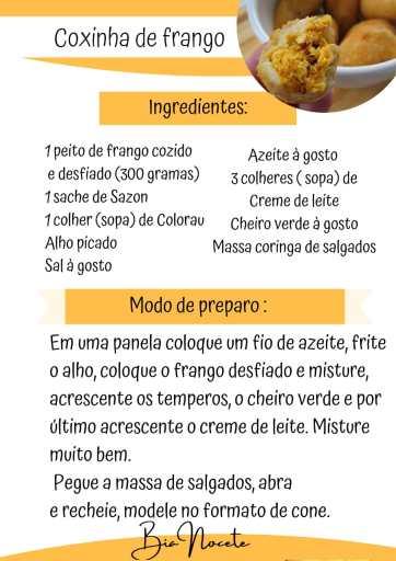 Receita coxinha de Frango
