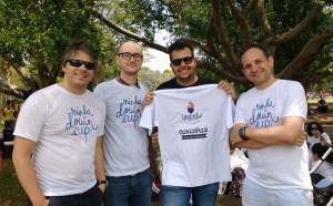Daniel, José, Danilo e Eduardo, time da Ualabí e parceiros do projeto