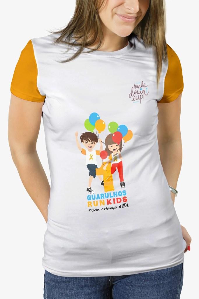 camiseta feminina, minha down é up, guarulhos run kids, compre agora mesmo