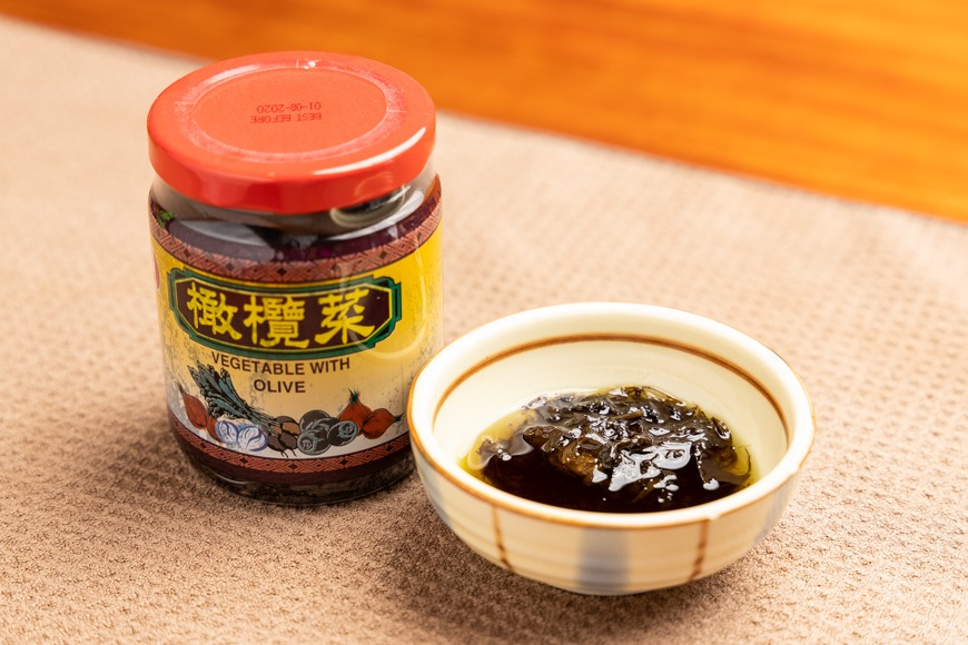 橄欖菜 Vegetable With Olive 銷售點: - 綿香食品有限公司 Min Hong Foods Company Ltd. 香港製造 Tel:28966431