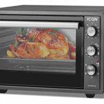 ICQN Mini four 42 litres avec éclairage intérieur et recirculation – Mini four à pizza – Double vitrage – Fonction minuterie – Émaillé – Noir