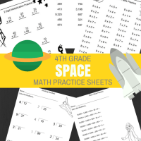 Space Theme - 4th Grade Math Practice Sheets - Multiplication Facts, 2 Digit Multiplication Practice, Rounding, Dividing