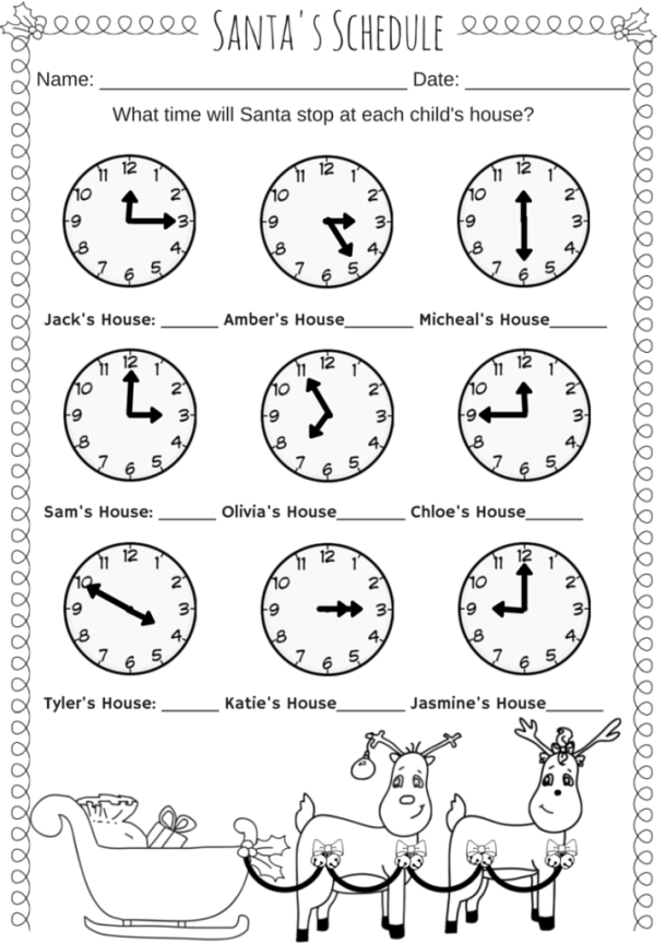 Santa's Schedule Time Worksheet